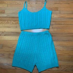 Blue fashion nova knit set